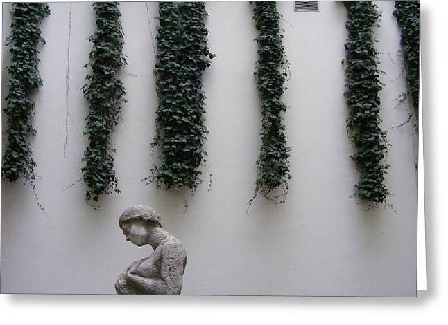 Greeting Card featuring the photograph Statue, Wall by Edward Lee