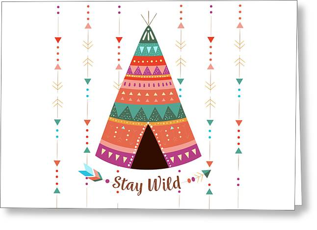 Stay Wild - Boho Chic Ethnic Nursery Art Poster Print Greeting Card