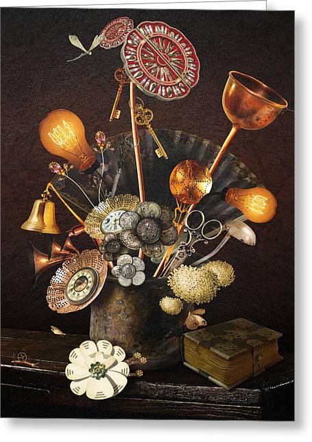 Steampunk Bouquet Greeting Card