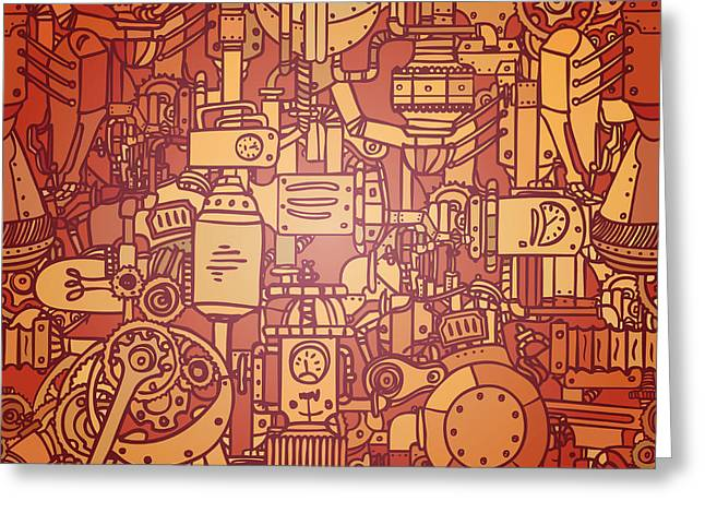 Steampunk Seamless Vector Pattern Greeting Card