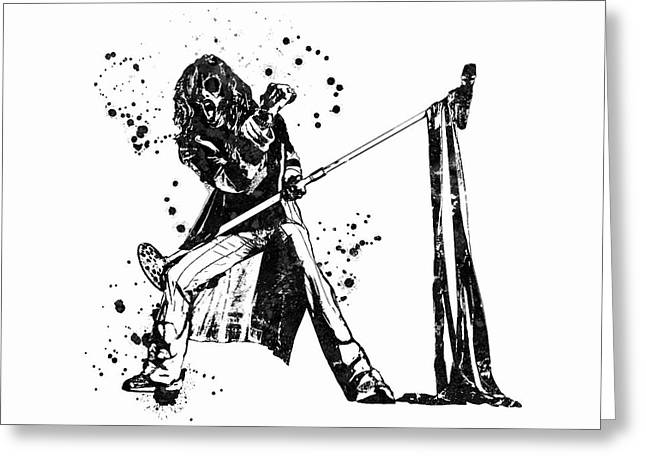 Steven Tyler Microphone Aerosmith Black And White Watercolor 01 Greeting Card