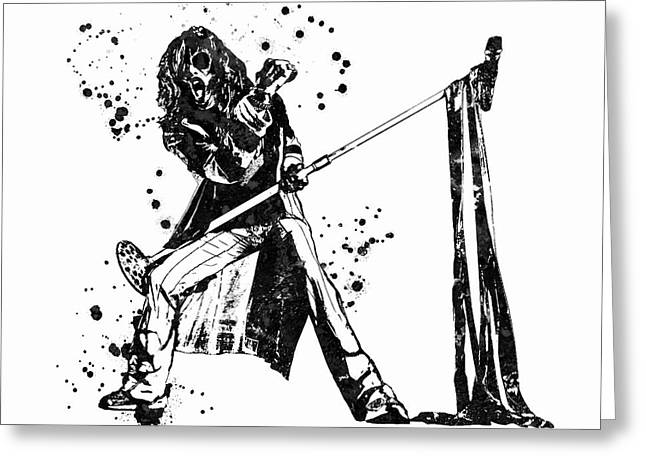 Steven Tyler Microphone Aerosmith Black And White Watercolor 02 Greeting Card