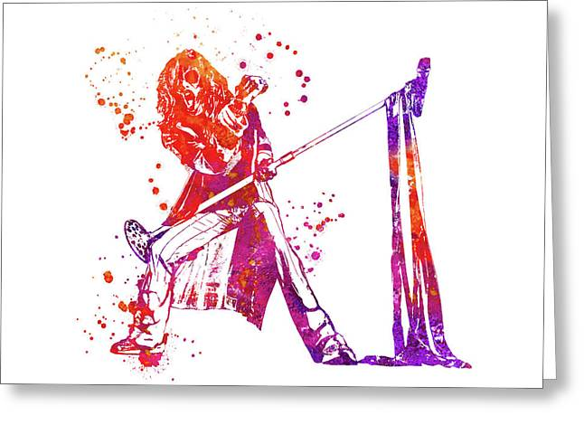 Steven Tyler Microphone Aerosmith Watercolor 0 Greeting Card