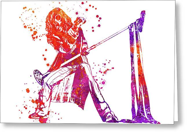 Steven Tyler Microphone Aerosmith Watercolor 02 Greeting Card