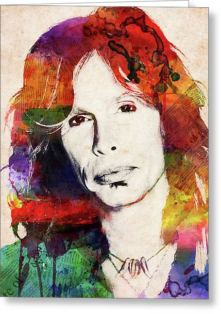 Steven Tyler Watercolor Portrait Greeting Card