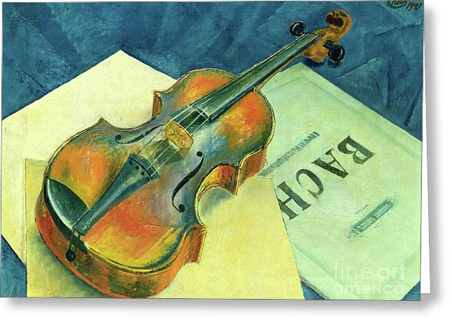 Still Life With A Violin, 1921 Greeting Card