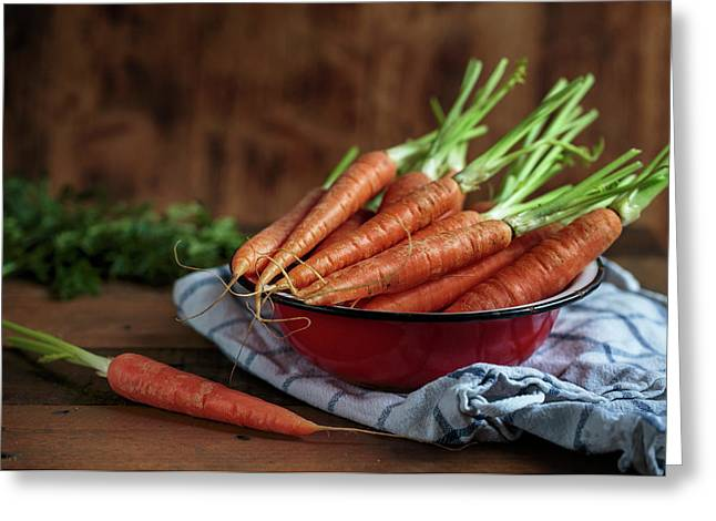 Still Life With Fresh Carrots Greeting Card