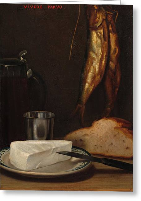 Still Life With Herring, Bread, And Cheese, 1858 Greeting Card