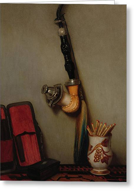 Still Life With Pipe And Matches, 1858 Greeting Card