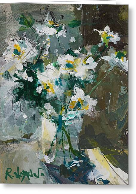 Still Life With White Anemones Greeting Card