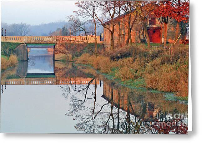Still Waters On The Canal Greeting Card