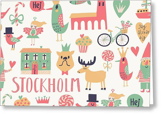 Stockholm Concept Seamless Pattern In Greeting Card