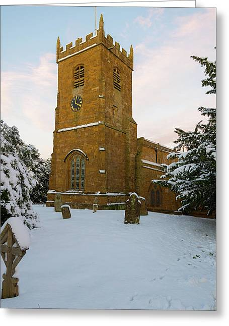 Stone Church In The Snow At Sunset Greeting Card