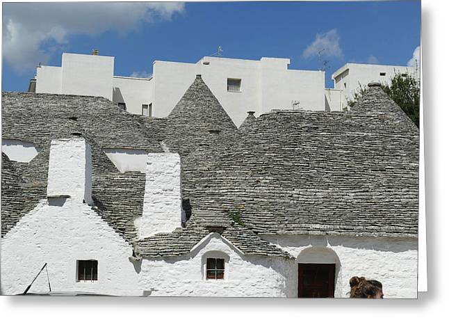 Stone Coned Rooves Of Trulli Houses Greeting Card