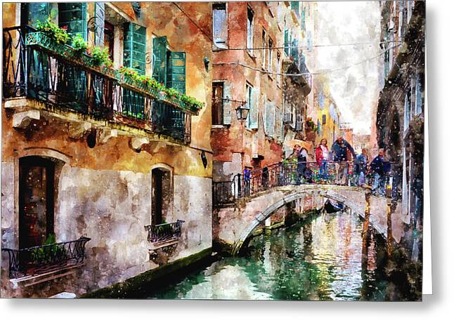 People On Bridge Over Canal In Venice, Italy - Watercolor Painting Effect Greeting Card