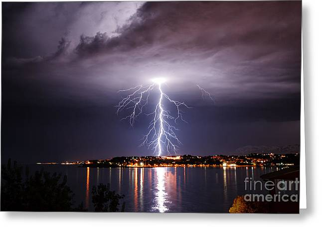 Storm On The Coast Of Adriatic, Croatia Greeting Card
