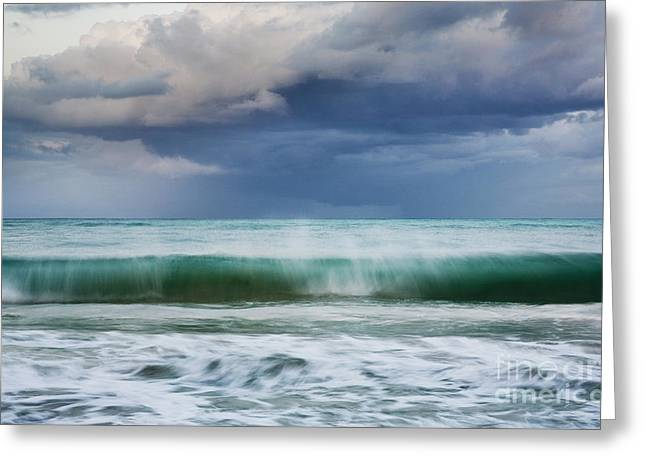 Greeting Card featuring the photograph Stormy Ocean Wave - Kailua, Oahu by Charmian Vistaunet