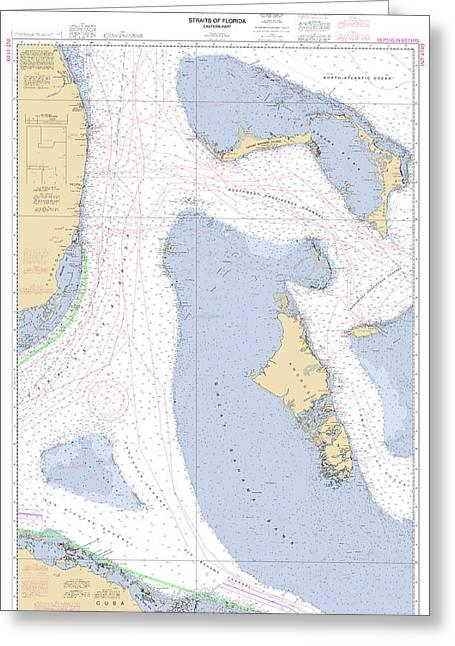 Straits Of Florida, Eastern Part Noaa Nautical Chart Greeting Card