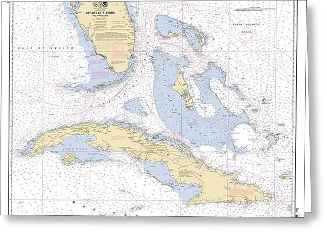 Straits Of Florida Nautical Chart 11013 Greeting Card