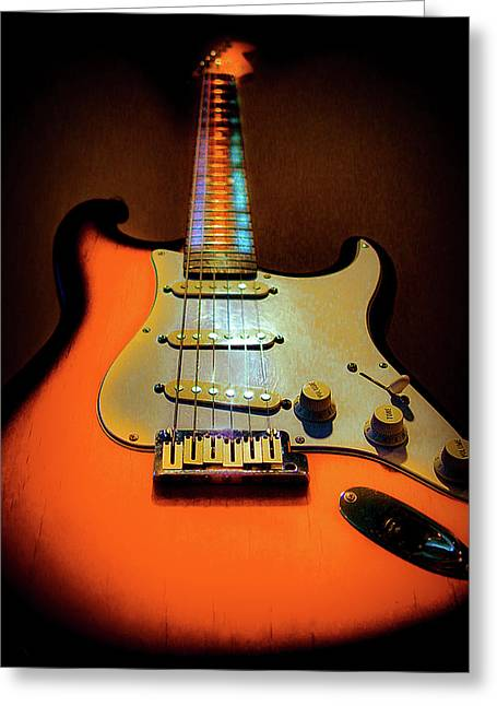 Stratocaster Triburst Glow Neck Series Greeting Card