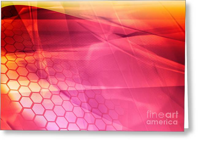 Streams Of Light Abstract Cool Waves Greeting Card