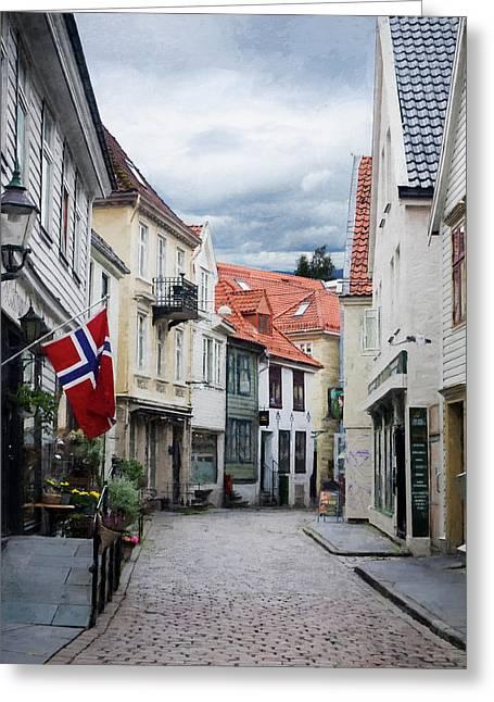 Street In Bergen, Norway Greeting Card
