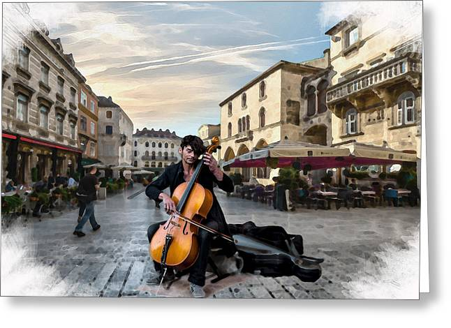 Street Music. Cello. Greeting Card