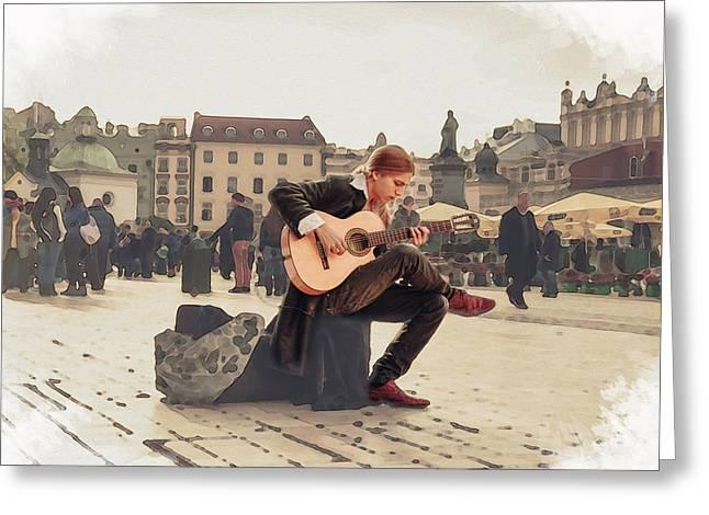 Street Music. Guitar. Greeting Card
