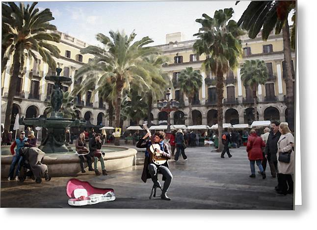 Street Music. Guitar. Barcelona, Plaza Real. Greeting Card