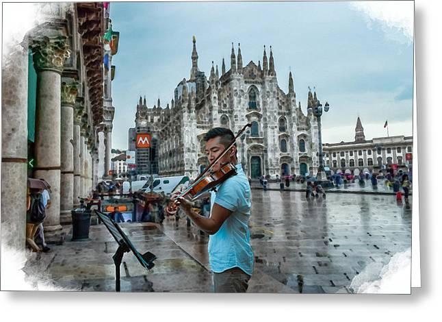 Street Music. Violin. Greeting Card