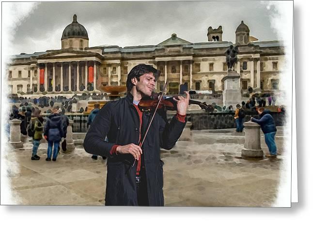 Street Music. Violin. Trafalgar Square. Greeting Card