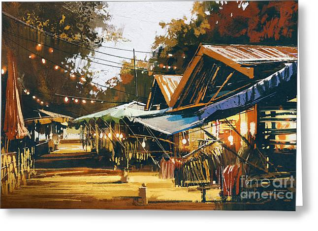 Street Of Traditional Market At Greeting Card