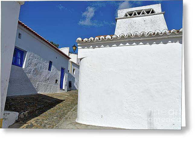 Streets Of A Medieval Castle. Alentejo Greeting Card
