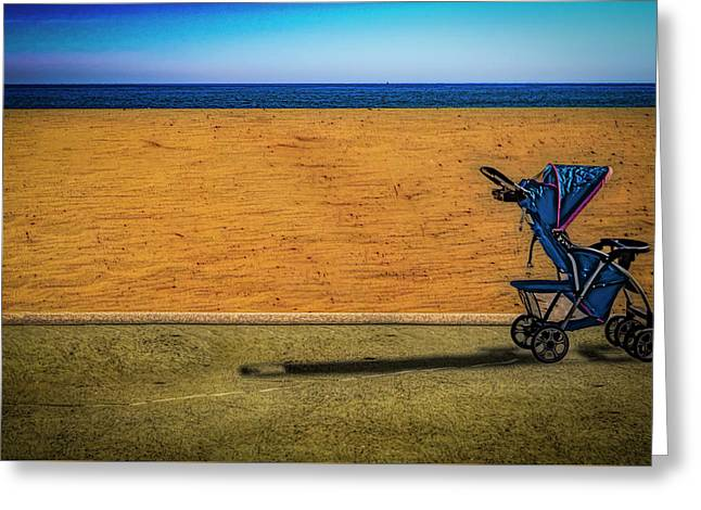 Stroller At The Beach Greeting Card