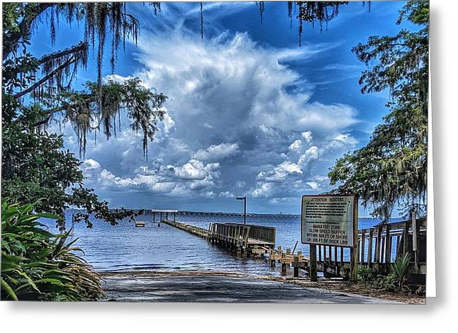 Strolling By The Dock Greeting Card