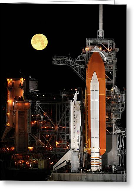 Sts-119 Shuttle Discovery With Moon Greeting Card