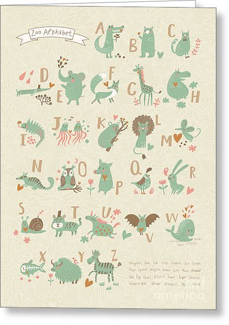 Stylish Zoo Alphabet In Vector. Lovely Greeting Card by Smilewithjul