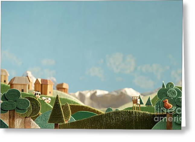 Stylized Alpine Landscape Made Of Wool Greeting Card