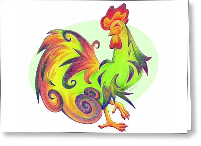 Stylized Rooster I Greeting Card