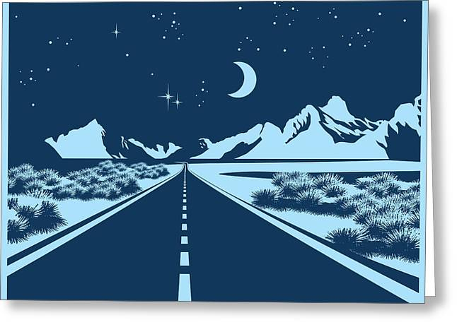 Stylized Vector Illustration Of A Night Greeting Card