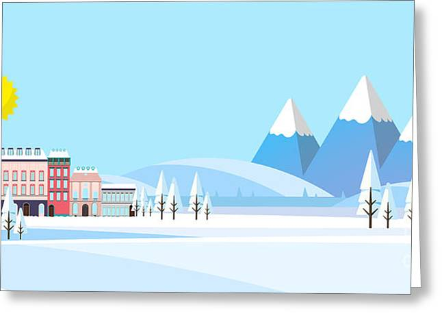 Suburban Buildings In Winter Landscape Greeting Card