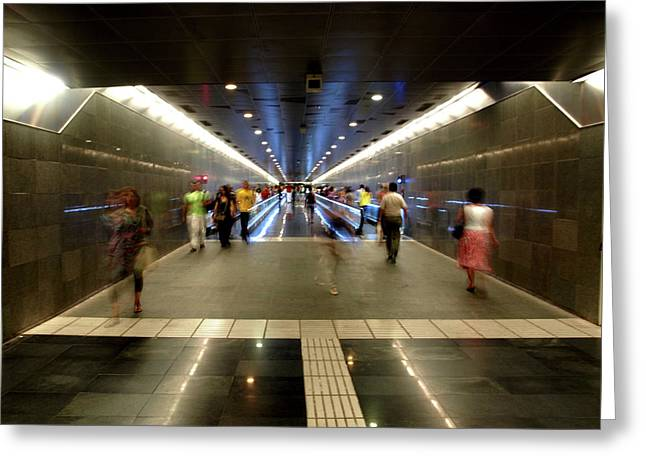 Greeting Card featuring the photograph Subway Ghosts  by Edward Lee