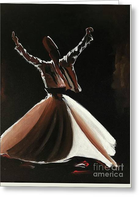 Greeting Card featuring the painting Sufi-s001 by Nizar MacNojia