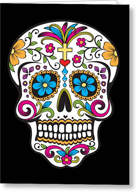 Sugar Skull Day Of The Dead Greeting Card