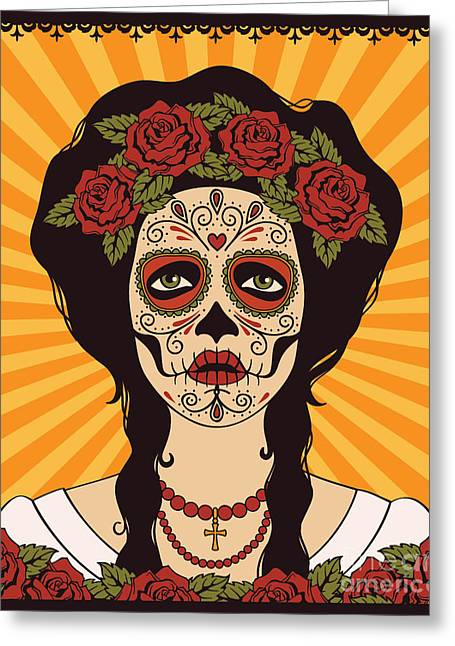 Sugar Skull Girl Greeting Card