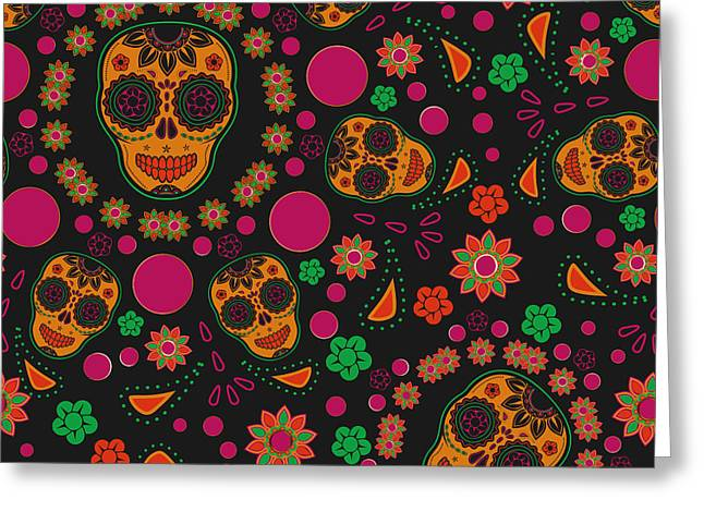 Sugar Skull Seamless Pattern Greeting Card