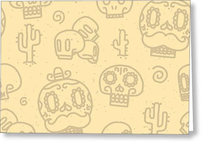 Sugar Skulls Sand Seamless Vector Greeting Card by Dmitriylo