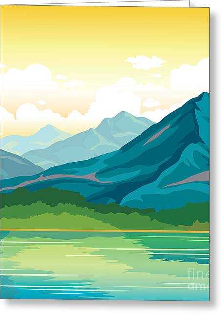 Summer Landscape - Blue Mountains With Greeting Card