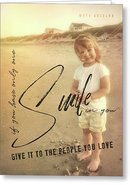 Greeting Card featuring the photograph Summer Smile Quote by JAMART Photography