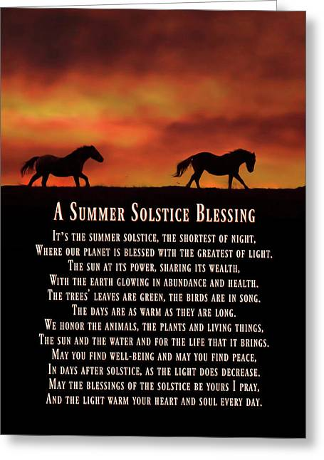 Summer Solstice Mid Summers Eve Blessings With Running Horses Greeting Card